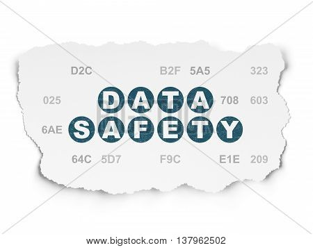 Information concept: Painted blue text Data Safety on Torn Paper background with  Hexadecimal Code