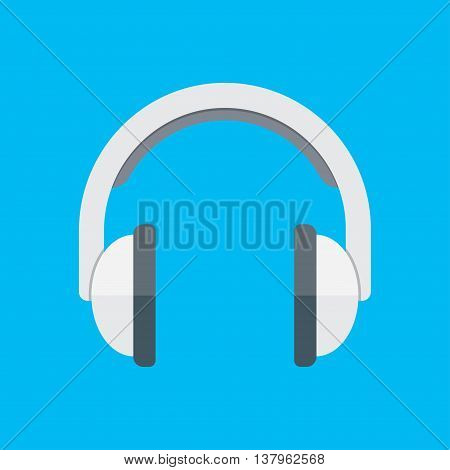 Isometric headphones vector icon isolated on blue background.