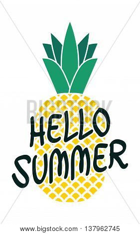Funny vector background with pineapple and hand written text Hello summer vector illustration