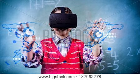 Global business interface against boy using a virtual reality device