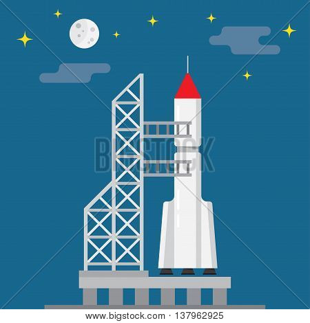 Rocket ready to launch on a blue background vector illustration