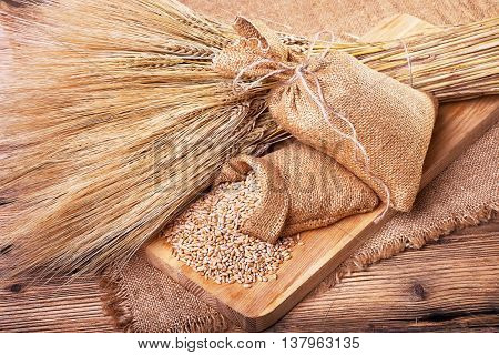 Wheat grains, harvest on the farm, delicious food, ears of wheat, burlap sack of grain, healthy food, a table of old wood