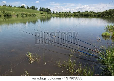 Fishing on the lake in the summer