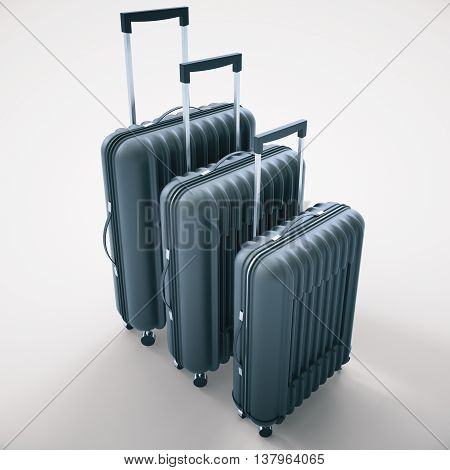 Three diffrent sized dark grey suitcases on light background. 3D Rendering