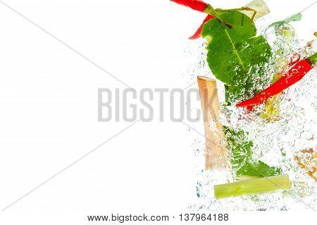 Herb set of Tom Yum Soup Ingredientsunder water