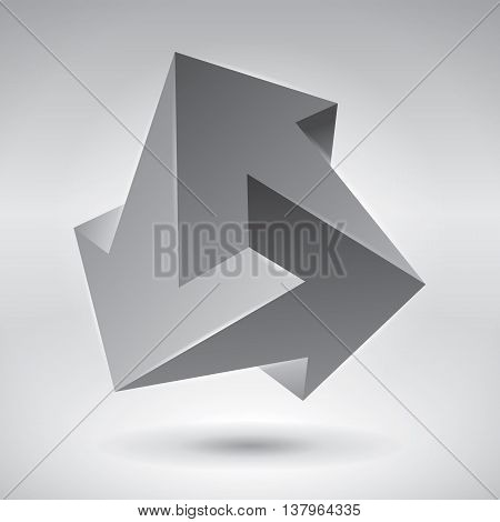 Impossible arrows, unreal shape, 3d logo and icon, abstract vector design object for you project or logotype