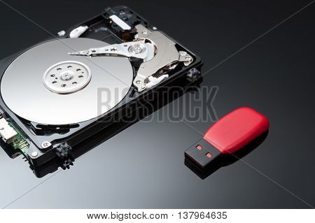 USB Flash Drive with hard disk drive close up