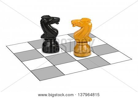Chess knights isolated on white background