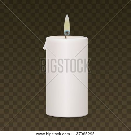 Candle Flame Fire Light Isolated on Background. Realistic Vector EPS10