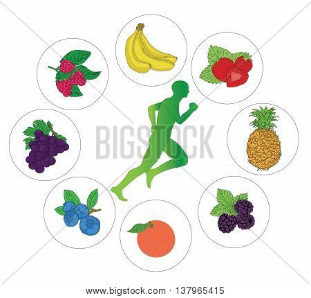 strawberry, raspberry, pineapple, blueberries, blueberry, banana, orange, grape silhouette of a man running around. vector illustration.