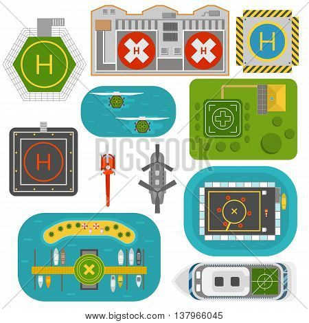 Helicopter landing pad vector set. Pilot transport skyline industry landing exterior helicopters landing. Helicopters landing pad aviation city platform. Takeoff vehicle tourism heliport sign.