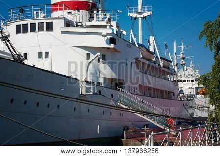 KALININGRAD RUSSIA - June 19: Museum of World oceanoutdoor exposition Research vessel Museum Vityaz on June 19 2016 in Kaliningrad Russia