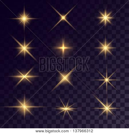 Vector starlights effects. Golden flares on transparent background. Release clipping mask for work.