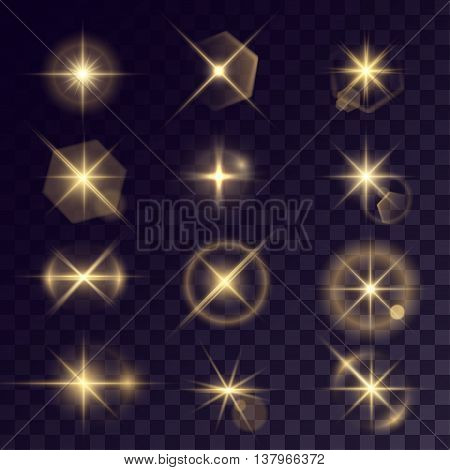 Vector starlights effects. Set of golden flares on transparent background. Release clipping mask for work.