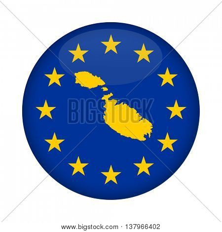 Malta map on a European Union flag button isolated on a white background.