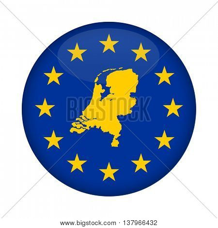 Netherlands map on a European Union flag button isolated on a white background.