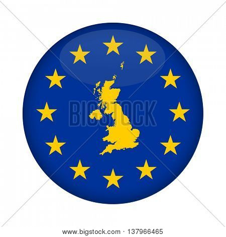 United Kingdom map on a European Union flag button isolated on a white background.