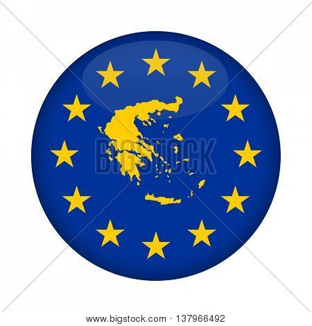 Greece map on a European Union flag button isolated on a white background.