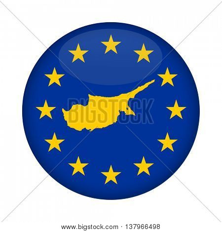 Cyprus map on a European Union flag button isolated on a white background.