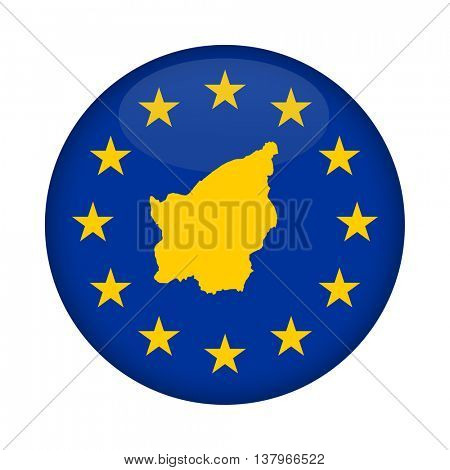 San Marino map on a European Union flag button isolated on a white background.