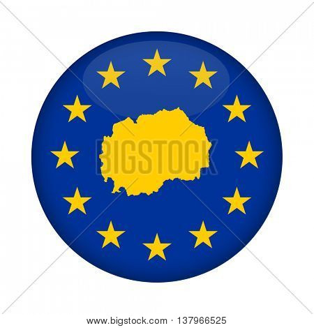Macedonia map on a European Union flag button isolated on a white background.