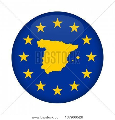 Spain map on a European Union flag button isolated on a white background.