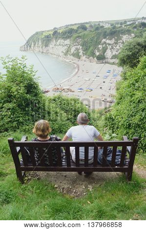 View from the hill on Jurassic Coast in village Beer Devon