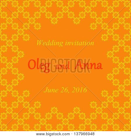 Wedding invitation with embroidered patterns yellow and orange embroidery abstract frame