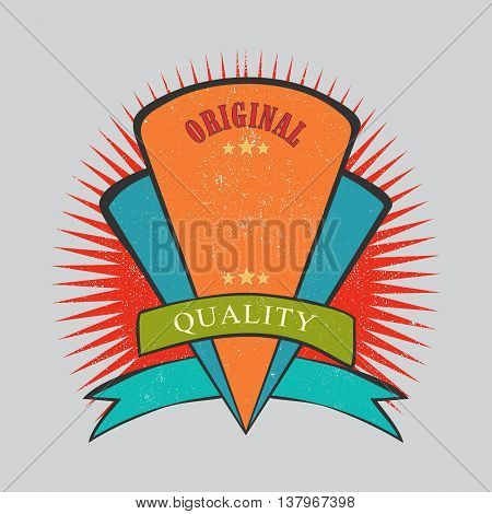 Retro vintage badge and label with texture
