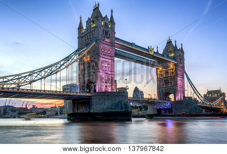 Illuminated Tower Bridge in London, seen from the South Bank