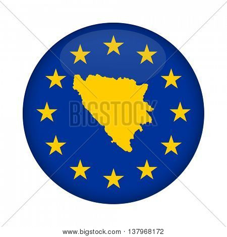 Bosnia and Herzegovina map on a European Union flag button isolated on a white background.