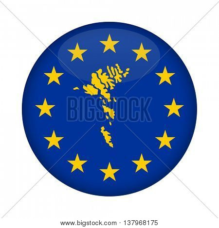 Faroe Islands map on a European Union flag button isolated on a white background.