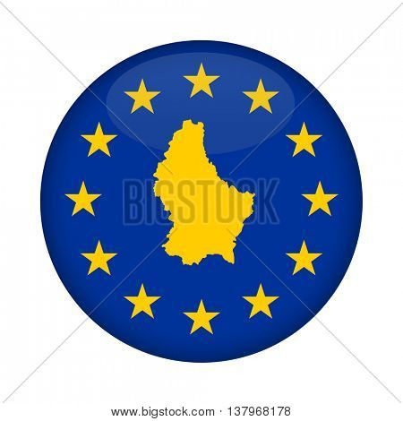 Luxembourg map on a European Union flag button isolated on a white background.