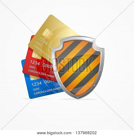 Credit Card Safety Concept Isolated on White Background. Symbol of Protection and Security. Vector illustration