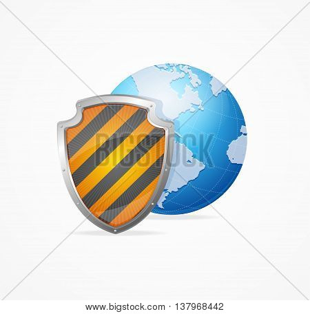 Global Safety Concept Isolated on White Background. Defense World. Vector illustration