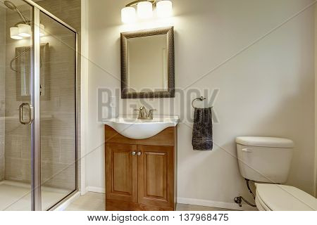Beautiful Grey New Modern Bathroom Interior With Sink