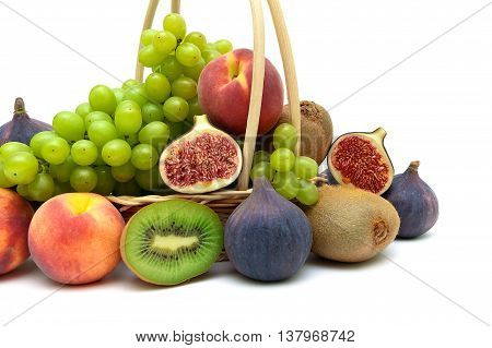 tropical fruits close-up on a white background. horizontal photo.