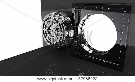 Render of the bank vault door 3D