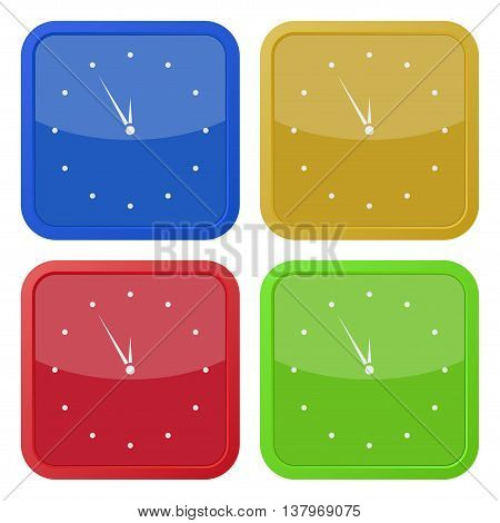 set of four colored square icons with last minute clock