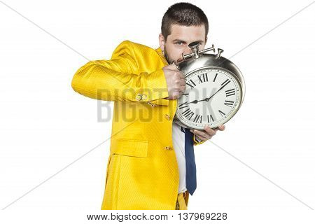 Businessman Hiding Behind A Watch