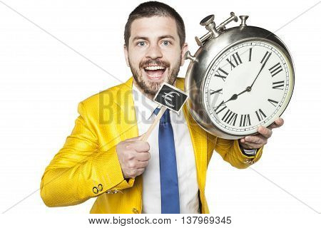 Businessman Holding A Clock And Currency Symbol