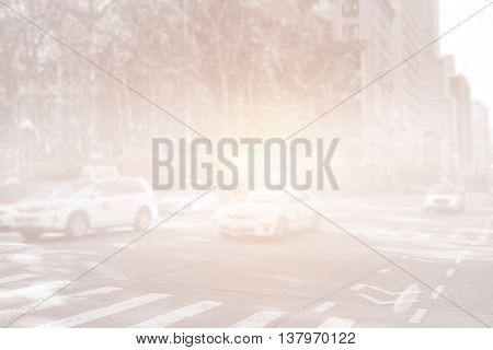 New york street with cabs and bright light
