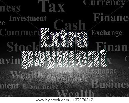 Banking concept: Glowing text Extra Payment in grunge dark room with Dirty Floor, black background with  Tag Cloud
