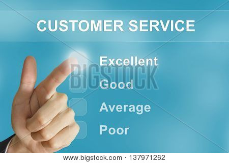 business hand clicking customer service button on screen