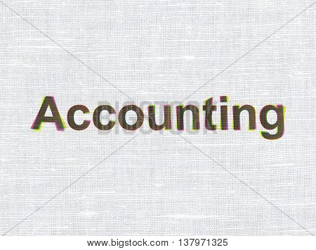 Money concept: CMYK Accounting on linen fabric texture background