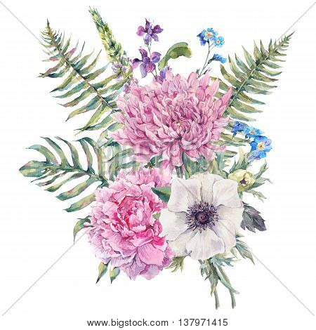 Summer watercolor vintage floral greeting card with blooming anemones, peony, chrysanthemum, ferns, wild and garden flowers, botanical natural anemone Illustration isolated on white