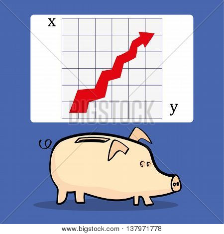 A traditional piggy bank underneath a presentation slide with a chart that shows an upward arrow for improvement in business, with copy space for text