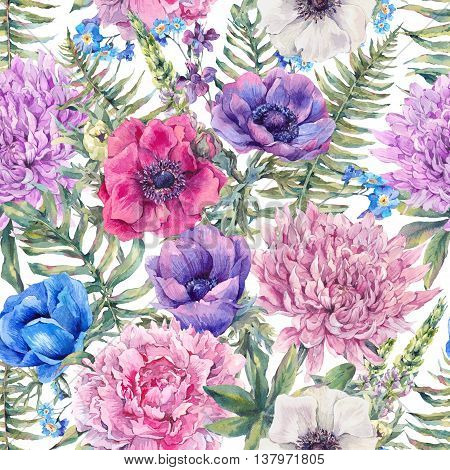 Summer watercolor vintage floral seamless pattern with blooming anemones, peony, chrysanthemum, ferns, wild and garden flowers, botanical natural anemone Illustration