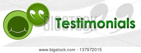 Testimonials concept image with text and related symbols.