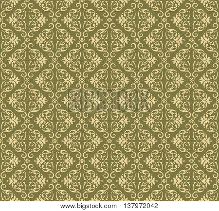 Vector Vintage Damask floral classic pattern ornament. Vector background for cards web fabric textures tile mosaic. Cream and lint color